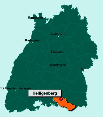Der Lageplan von 88633 Heiligenberg zeigt die Position im Bodenseekreis - Der Ort liegt im Bundesland Baden-Württemberg