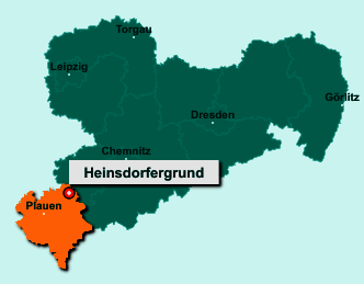 Der Lageplan von 08468 Heinsdorfergrund zeigt die Position im Vogtlandkreis - Der Ort liegt im Bundesland Sachsen