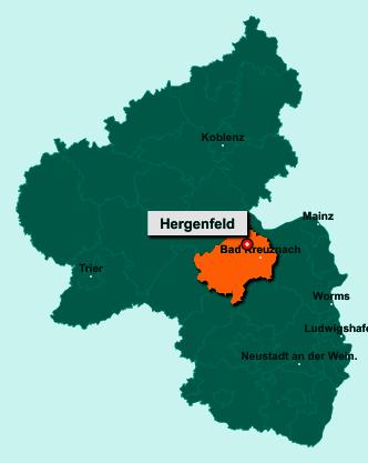 Die Karte von Hergenfeld zeigt die Lage im Landkreis Bad Kreuznach - Der Ort 55452 Hergenfeld liegt im Bundesland Rheinland-Pfalz