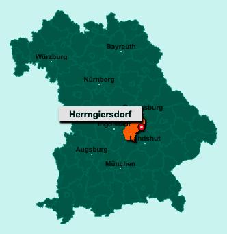Die Karte von Herrngiersdorf zeigt die Lage im Landkreis Kelheim - Der Ort 84097 Herrngiersdorf liegt im Bundesland Bayern
