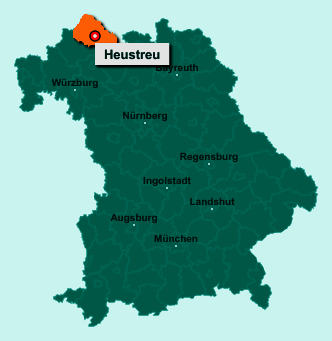 Der Lageplan von 97618 Heustreu zeigt die Position im Landkreis Rhön-Grabfeld - Der Ort liegt im Bundesland Bayern