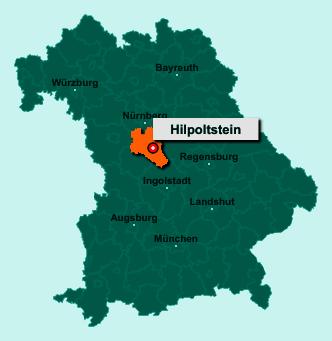 Der Lageplan von 91161 Hilpoltstein zeigt die Position im Landkreis Roth - Der Ort liegt im Bundesland Bayern