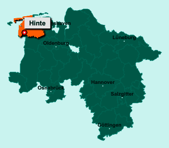 Die Karte von Hinte zeigt die Lage im Landkreis Aurich - Der Ort 26759 Hinte liegt im Bundesland Niedersachsen