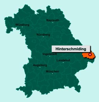 Die Karte von Hinterschmiding zeigt die Lage im Landkreis Freyung-Grafenau - Der Ort 94146 Hinterschmiding liegt im Bundesland Bayern