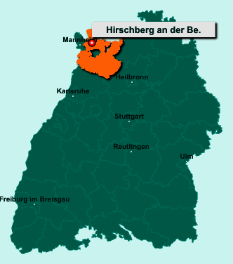 Der Lageplan von 69493 Hirschberg an der Bergstraße zeigt die Position im Rhein-Neckar-Kreis - Der Ort liegt im Bundesland Baden-Württemberg