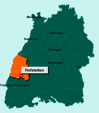 Die Karte von Hofstetten zeigt die Lage im Ortenaukreis - Der Ort 77716 Hofstetten liegt im Bundesland Baden-Württemberg