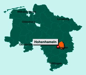 Die Karte von Hohenhameln zeigt die Lage im Landkreis Peine - Der Ort 31249 Hohenhameln liegt im Bundesland Niedersachsen