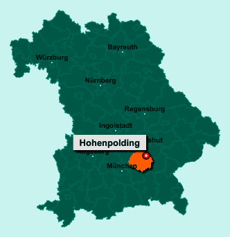Die Karte von Hohenpolding zeigt die Lage im Landkreis Erding - Der Ort 84432 Hohenpolding liegt im Bundesland Bayern