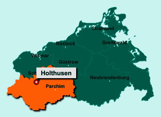 Die Karte von Holthusen zeigt die Lage im Landkreis Ludwigslust-Parchim - Der Ort 19075 Holthusen liegt im Bundesland Mecklenburg-Vorpommern