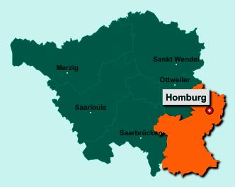 Der Lageplan von 66424 Homburg zeigt die Position im Saarpfalz-Kreis - Der Ort liegt im Bundesland Saarland