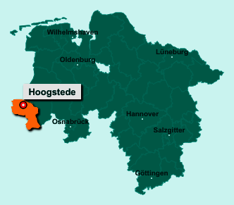 Der Lageplan von 49846 Hoogstede zeigt die Position im Landkreis Grafschaft Bentheim - Der Ort liegt im Bundesland Niedersachsen