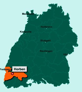 Die Karte von Horben zeigt die Lage im Landkreis Breisgau-Hochschwarzwald - Der Ort 79289 Horben liegt im Bundesland Baden-Württemberg