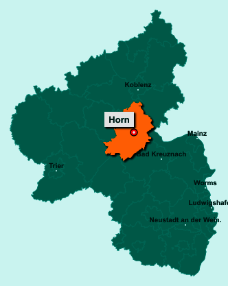 Die Karte von Horn zeigt die Lage im Rhein-Hunsrück-Kreis - Der Ort 55469 Horn liegt im Bundesland Rheinland-Pfalz