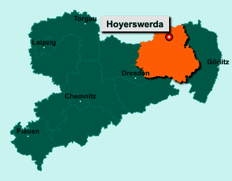 Die Karte von Hoyerswerda zeigt die Lage im Landkreis Bautzen - Der Ort 02977 Hoyerswerda liegt im Bundesland Sachsen