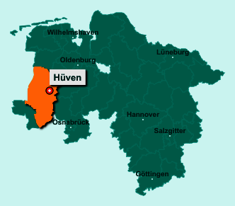 Die Karte von Hüven zeigt die Lage im Landkreis Emsland - Der Ort 49751 Hüven liegt im Bundesland Niedersachsen