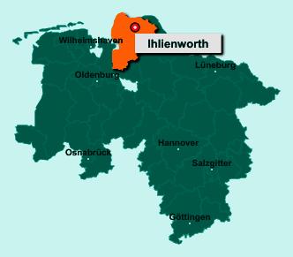 Die Karte von Ihlienworth zeigt die Lage im Landkreis Cuxhaven - Der Ort 21775 Ihlienworth liegt im Bundesland Niedersachsen