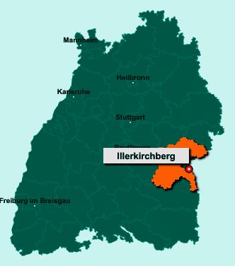 Der Lageplan von 89171 Illerkirchberg zeigt die Position im Alb-Donau-Kreis - Der Ort liegt im Bundesland Baden-Württemberg