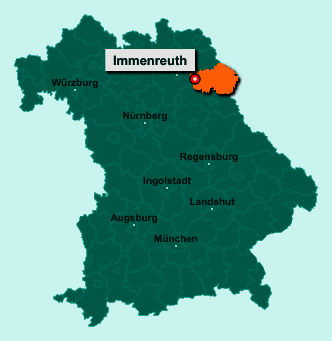 Die Karte von Immenreuth zeigt die Lage im Landkreis Tirschenreuth - Der Ort 95505 Immenreuth liegt im Bundesland Bayern