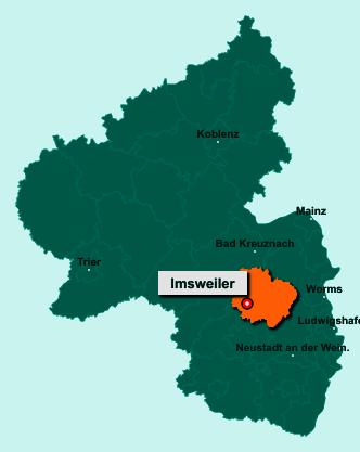 Die Karte von Imsweiler zeigt die Lage im Donnersbergkreis - Der Ort Imsweiler liegt im Bundesland Rheinland-Pfalz