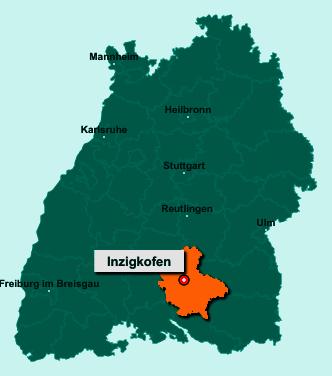 Der Lageplan von 72514 Inzigkofen zeigt die Position im Landkreis Sigmaringen - Der Ort liegt im Bundesland Baden-Württemberg