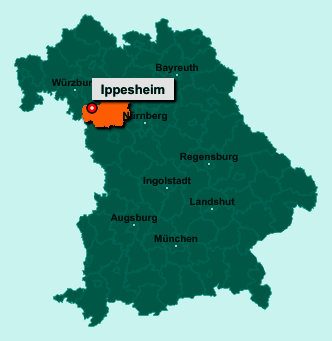 Die Karte von Ippesheim zeigt die Lage im Landkreis Neustadt an der Aisch-Bad Windsheim - Der Ort 97258 Ippesheim liegt im Bundesland Bayern