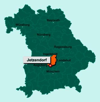 Die Karte von Jetzendorf zeigt die Lage im Landkreis Pfaffenhofen an der Ilm - Der Ort 85305 Jetzendorf liegt im Bundesland Bayern