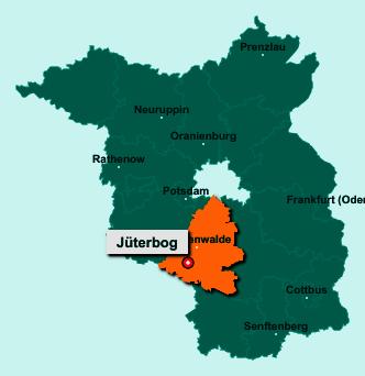 Die Karte von Jüterbog zeigt die Lage im Landkreis Teltow-Fläming - Der Ort 14913 Jüterbog liegt im Bundesland Brandenburg