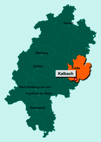 Der Lageplan von 36148 Kalbach zeigt die Position im Landkreis Fulda - Der Ort liegt im Bundesland Hessen