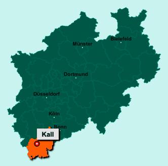 Der Lageplan von 53925 Kall zeigt die Position im Kreis Euskirchen - Der Ort liegt im Bundesland Nordrhein-Westfalen