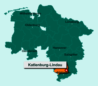 Der Lageplan von 37191 Katlenburg-Lindau zeigt die Position im Landkreis Northeim - Der Ort liegt im Bundesland Niedersachsen
