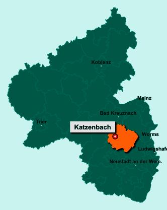 Die Karte von Katzenbach zeigt die Lage im Donnersbergkreis - Der Ort 67806 Katzenbach liegt im Bundesland Rheinland-Pfalz