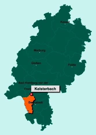 Die Karte von Kelsterbach zeigt die Lage im Kreis Groß-Gerau - Der Ort 65451 Kelsterbach liegt im Bundesland Hessen