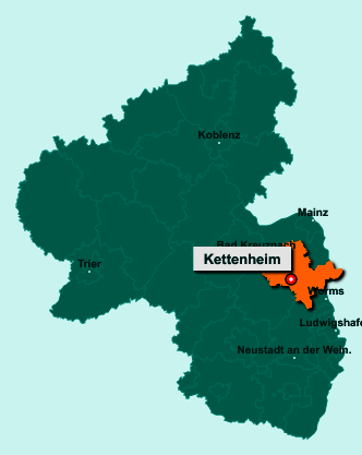 Die Karte von Kettenheim zeigt die Lage im Landkreis Alzey-Worms - Der Ort 55234 Kettenheim liegt im Bundesland Rheinland-Pfalz