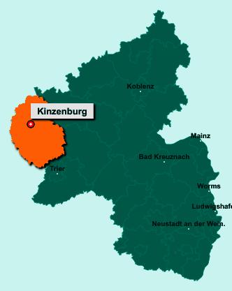 Der Lageplan von 54597 Kinzenburg zeigt die Position im Eifelkreis Bitburg-Prüm - Der Ort liegt im Bundesland Rheinland-Pfalz