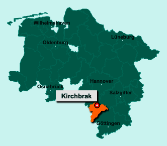 Der Lageplan von 37619 Kirchbrak zeigt die Position im Landkreis Holzminden - Der Ort liegt im Bundesland Niedersachsen