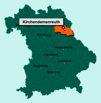 Die Karte von Kirchendemenreuth zeigt die Lage im Landkreis Neustadt an der Waldnaab - Der Ort 92665 Kirchendemenreuth liegt im Bundesland Bayern