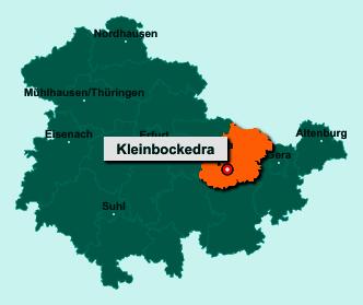 Die Karte von Kleinbockedra zeigt die Lage im Saale-Holzland-Kreis - Der Ort 07646 Kleinbockedra liegt im Bundesland Thüringen
