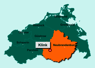 Der Lageplan von 17192 Klink zeigt die Position im Landkreis Mecklenburgische Seenplatte - Der Ort liegt im Bundesland Mecklenburg-Vorpommern