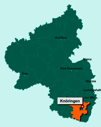Die Karte von Knöringen zeigt die Lage im Landkreis Südliche Weinstraße - Der Ort 76833 Knöringen liegt im Bundesland Rheinland-Pfalz