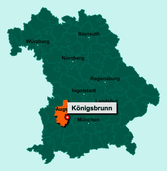 Der Lageplan von 86343 Königsbrunn zeigt die Position im Landkreis Augsburg - Der Ort liegt im Bundesland Bayern