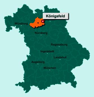 Der Lageplan von 96167 Königsfeld zeigt die Position im Landkreis Bamberg - Der Ort liegt im Bundesland Bayern