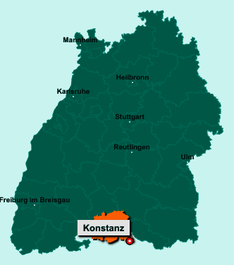 Der Lageplan von Konstanz zeigt die Position im Landkreis Konstanz - Der Ort liegt im Bundesland Baden-Württemberg