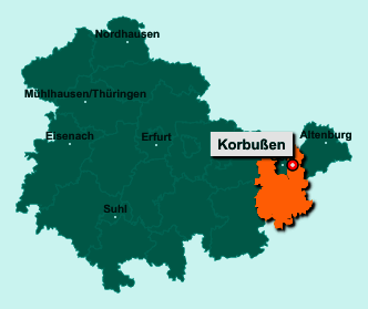 Der Lageplan von 07554 Korbußen zeigt die Position im Landkreis Greiz - Der Ort liegt im Bundesland Thüringen