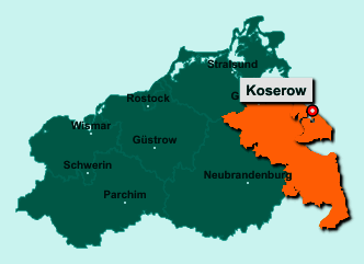 Der Lageplan von 17459 Koserow zeigt die Position im Landkreis Vorpommern-Greifswald - Der Ort liegt im Bundesland Mecklenburg-Vorpommern