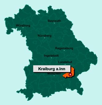 Der Lageplan von 84559 Kraiburg a.Inn zeigt die Position im Landkreis Mühldorf am Inn - Der Ort liegt im Bundesland Bayern