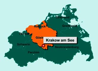 Die Karte von Krakow am See zeigt die Lage im Landkreis Rostock - Der Ort 18292 Krakow am See liegt im Bundesland Mecklenburg-Vorpommern