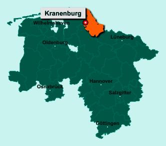 Die Karte von Kranenburg zeigt die Lage im Landkreis Stade - Der Ort 21726 Kranenburg liegt im Bundesland Niedersachsen