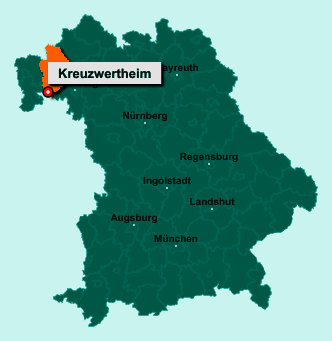 Der Lageplan von 97892 Kreuzwertheim zeigt die Position im Landkreis Main-Spessart - Der Ort liegt im Bundesland Bayern