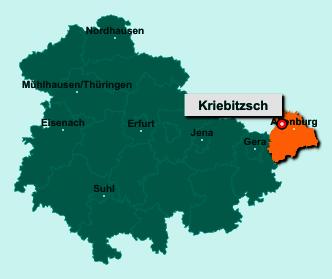 Die Karte von Kriebitzsch zeigt die Lage im Landkreis Altenburger Land - Der Ort 04617 Kriebitzsch liegt im Bundesland Thüringen