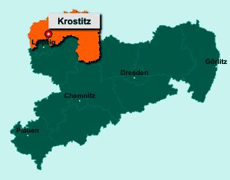 Der Lageplan von 04509 Krostitz zeigt die Position im Landkreis Nordsachsen - Der Ort liegt im Bundesland Sachsen
